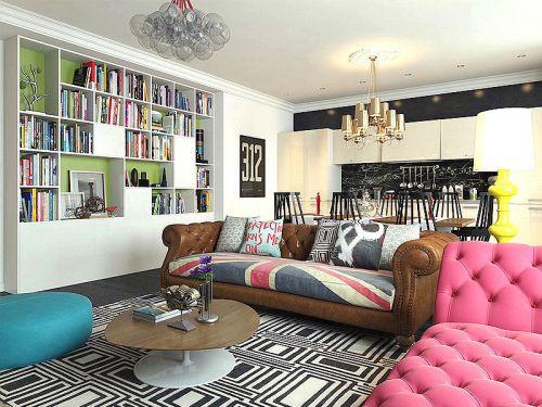 混搭风格时尚白色客厅美图赏析