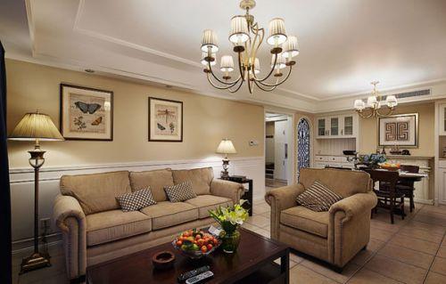 美式风格米色雅致客厅装修图片