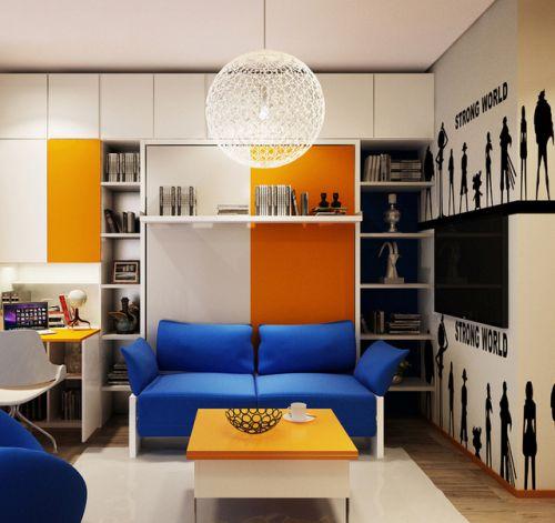 混搭简约彩色客厅设计