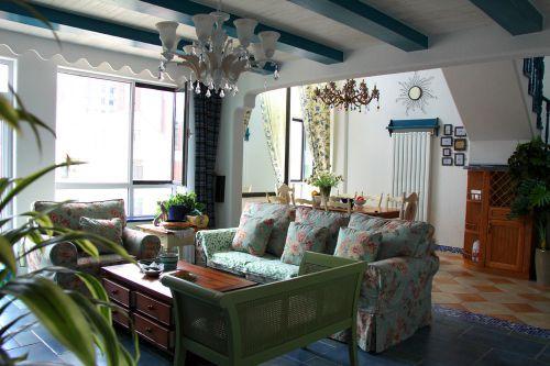 混搭风格米色清新客厅设计图片
