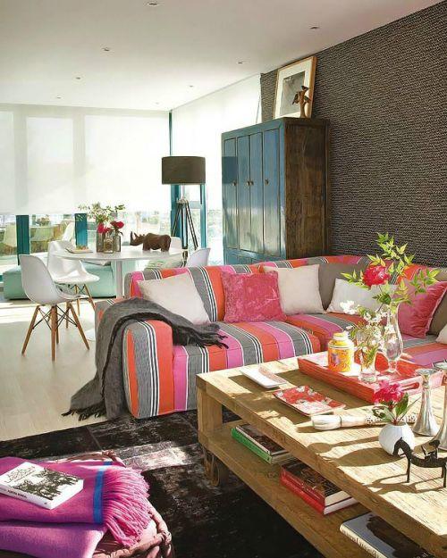 混搭风格清新彩色客厅装修欣赏