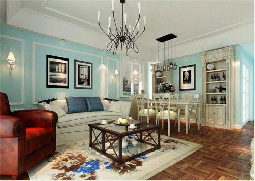 蓝色浪漫混搭风客厅装修赏析