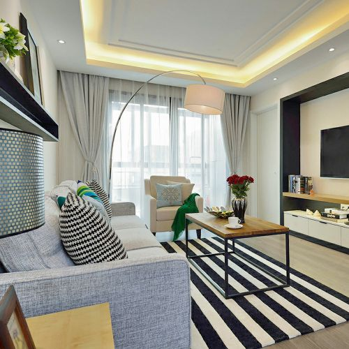 灰色混搭风格客厅装修美图欣赏