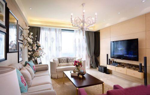 精致温馨白色客厅装修效果图