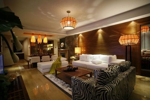 黄色摩登混搭风格客厅装修设计