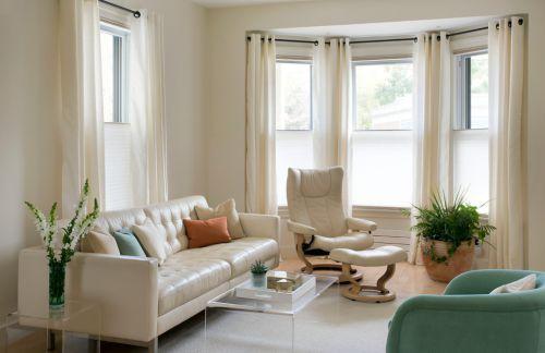 米色混搭风格客厅窗帘效果图设计