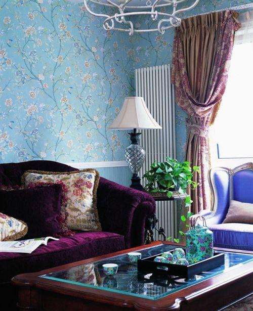 蓝色大方混搭风格客厅装修设计