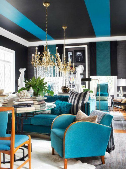 蓝色个性摩登2016混搭风格客厅装饰图
