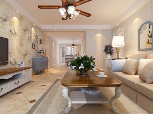 米色混搭清爽温馨客厅设计图