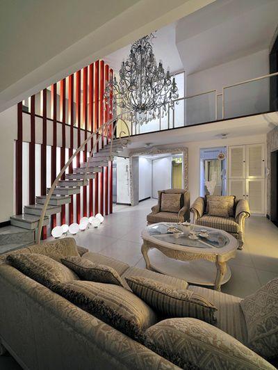 混搭风格素雅米色客厅装潢设计
