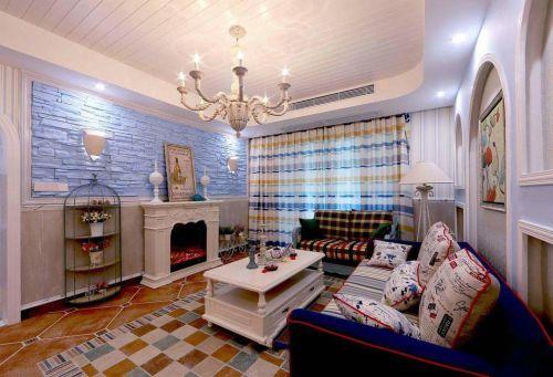 浪漫蓝色混搭风格客厅装饰图