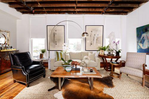 混搭风格大气白色客厅装潢案例