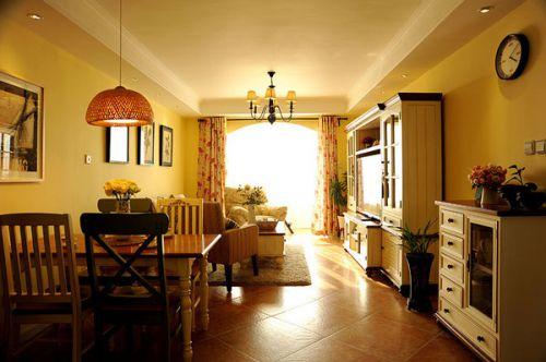 混搭风格温馨黄色客厅美图赏析