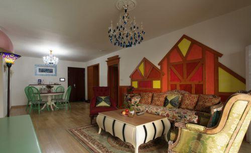 混搭风格个性红色客厅装修图片
