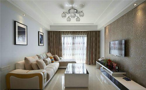 米色混搭风格客厅窗帘设计