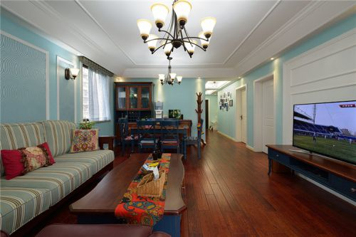 混搭风格浪漫蓝色客厅装修布置