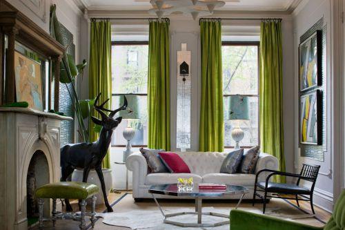 浪漫自然混搭风格绿色客厅窗帘设计赏析