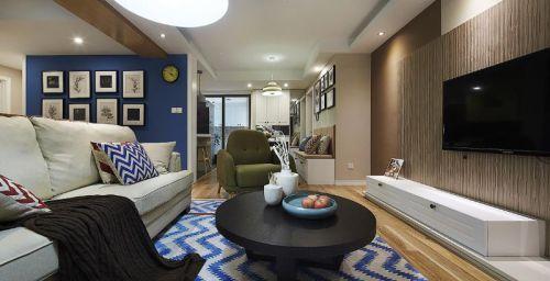 蓝色雅致时尚混搭风格客厅装潢装饰案例