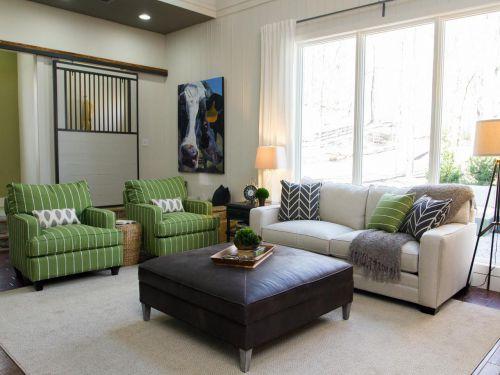 绿色个性混搭风格客厅装修图片