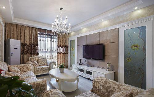 黄色简欧客厅装饰设计图片