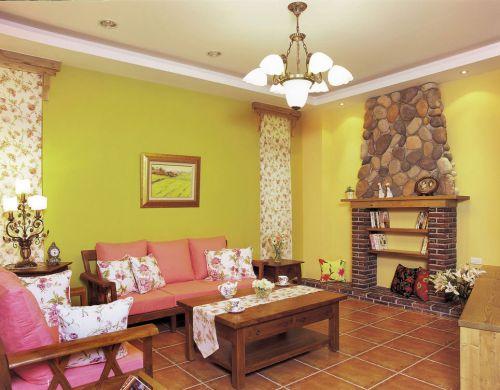 混搭风温馨黄色客厅装修美图欣赏