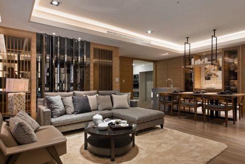 混搭风格质感原木色客厅装修设计图