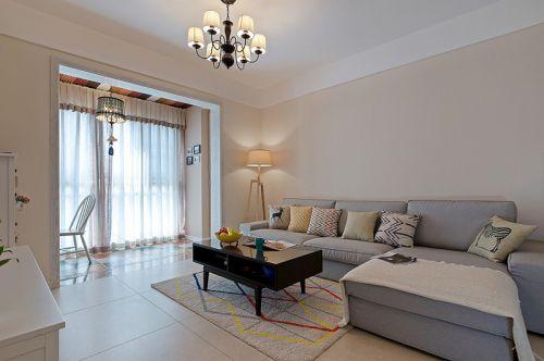 白色简欧风格客厅连阳台装饰案例