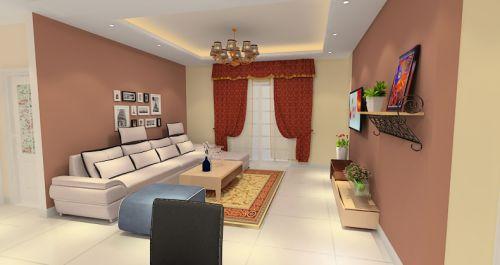 红色简欧风格客厅装饰案例