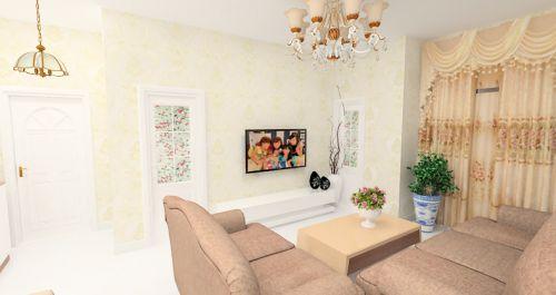黄色简欧风格客厅装修装饰图