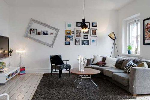 白色宜家风格客厅照片墙装修效果图片