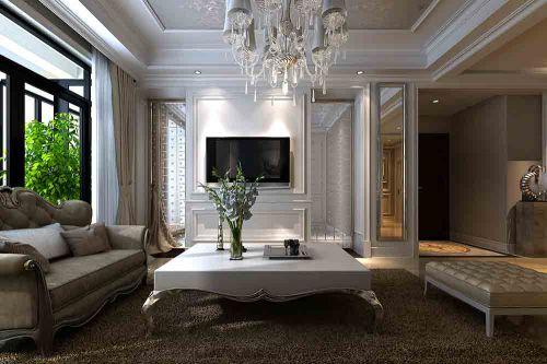 简欧白色客厅装潢