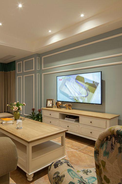 绿色宜家风格客厅电视背景墙设计