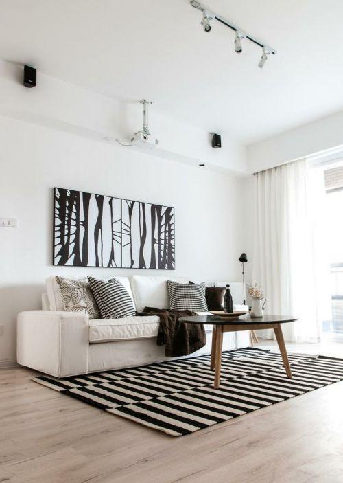 宜家风格清新白色客厅装修案例