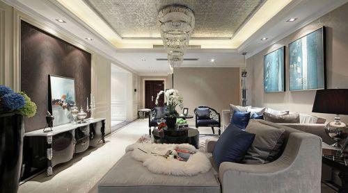 2016时尚银灰简欧风格客厅装修布置