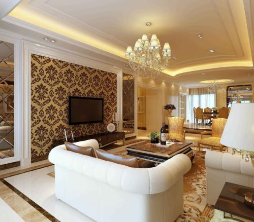 2016橙色简欧风格客厅装修设计图