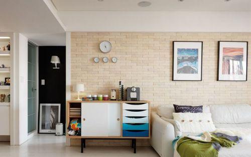 米色清新宜家风格客厅背景墙装修设计