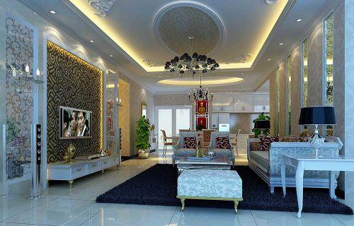 奢华精致简欧风格客厅装修案例