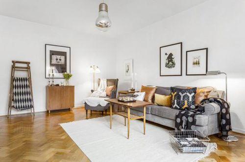 白色清新宜家风格客厅设计图片