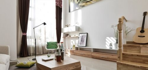 极简宜家复式客厅装饰效果图