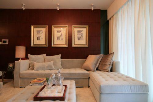 简欧风格灰色客厅沙发装饰设计图片
