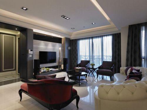轻奢时尚2016简欧风格黑色客厅设计案例