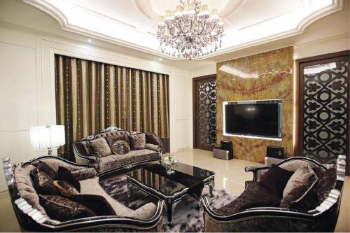 黑色精致优雅简欧风格客厅装修效果图
