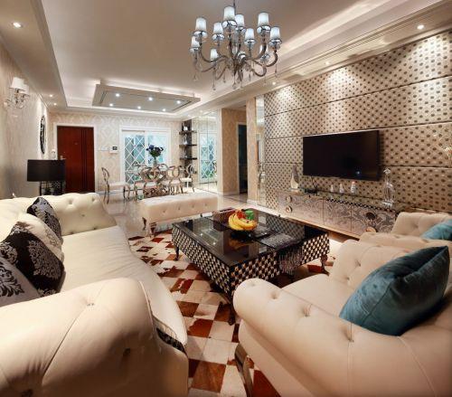简欧风格精致低奢米色客厅装修图片