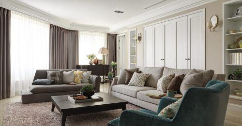 优雅浪漫米色简欧风格客厅装潢装修效果图片