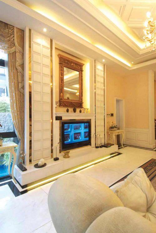 华丽大气简欧风格客厅背景墙设计