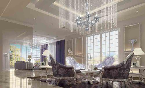 白色豪华新古典风格客厅设计图