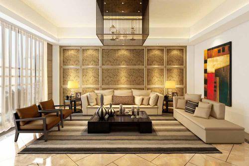 黄色奢华新古典风格客厅设计图