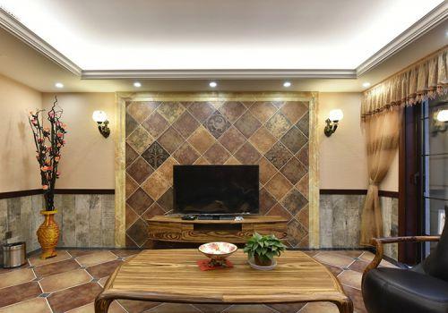 原木色新古典式客厅背景墙