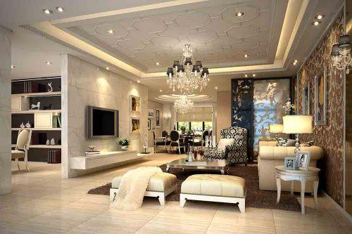 新古典闪亮客厅装修布置