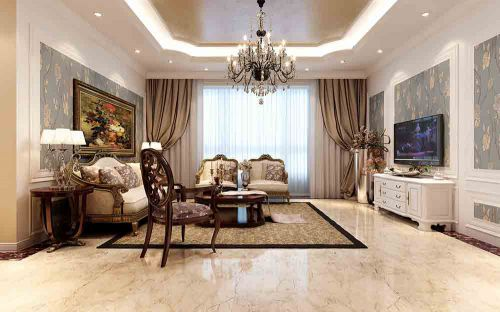 黄色温馨新古典客厅装潢效果图